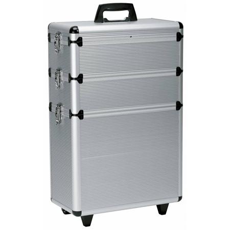 Koffer 3-deling met trolley (aluminium)