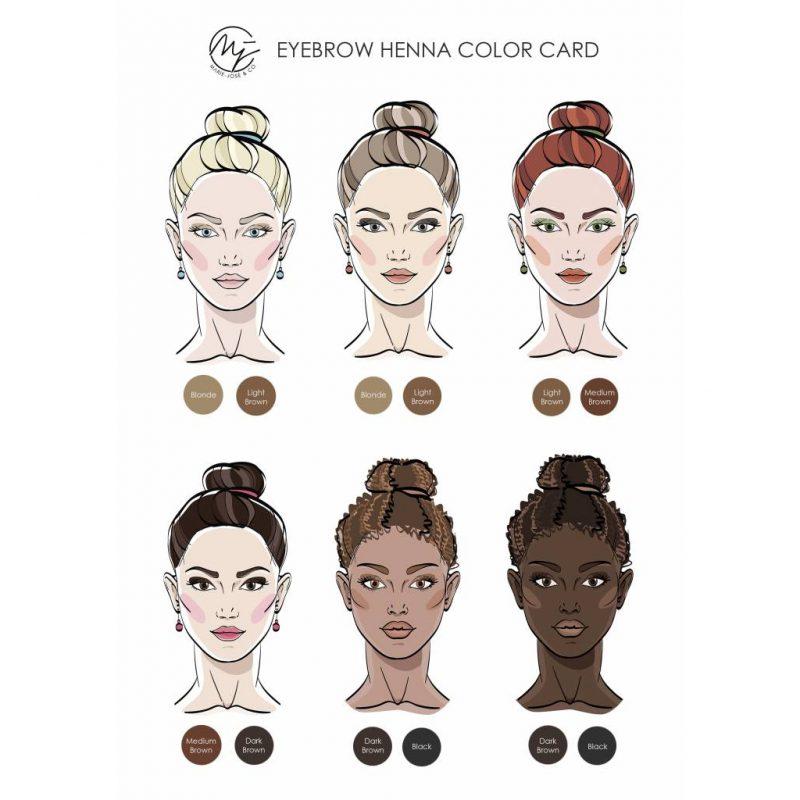 eyebrow henna color card