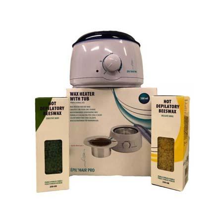 Wax Heater met pot 500 ml (Sibel) + Harskorrels 250 gram (azuleen)